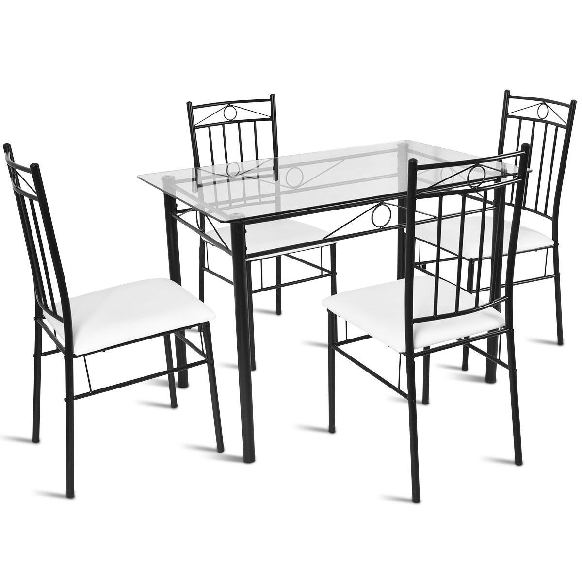 5 Pcs Tempered Glass Tabletop Dining Set Dining Room Furniture