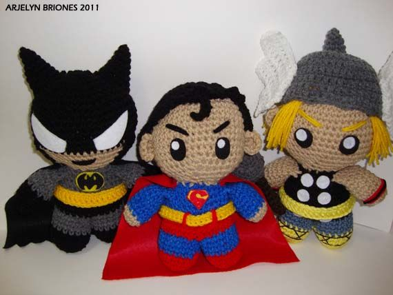 Arjeloops Superman, Batman, and Thor Crochet Dolls by Arjeloops.deviantart.com on @deviantART