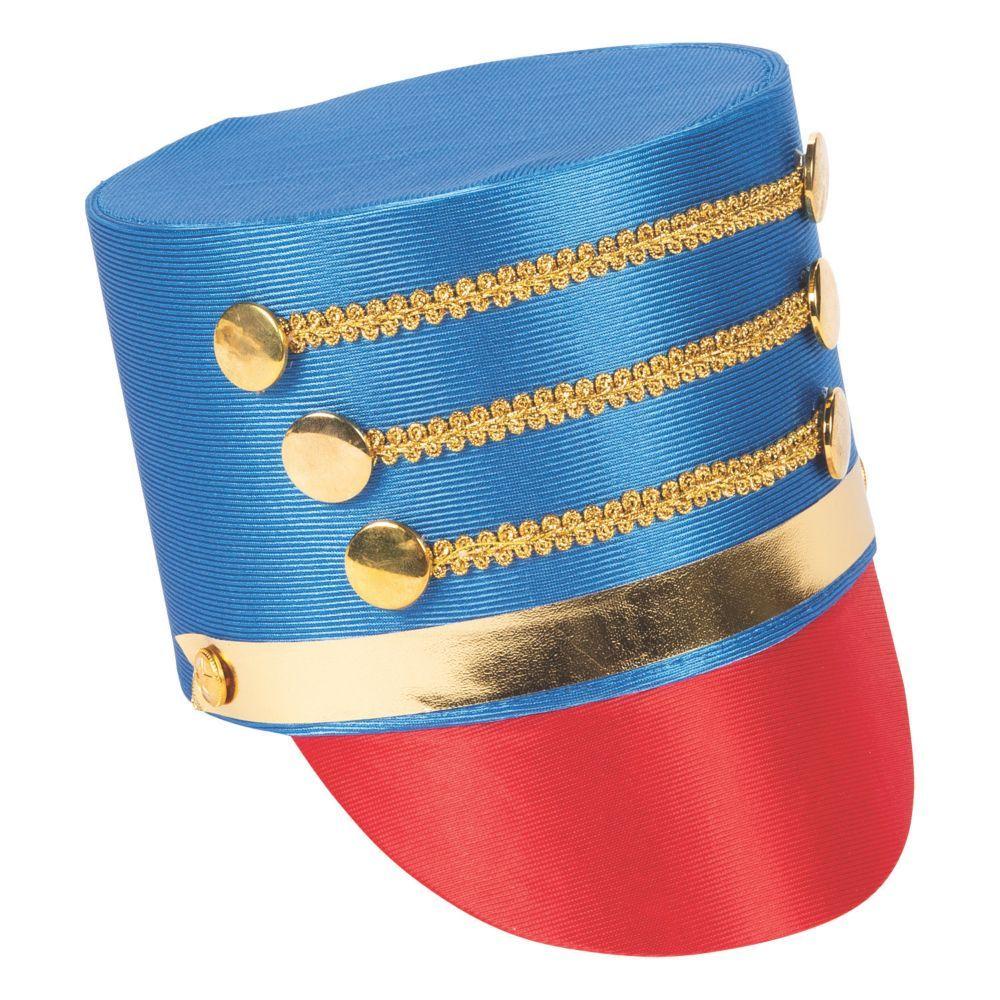 Blue Toy Soldier Hat Drum Major Nutcracker Christmas Halloween Costume Accessory