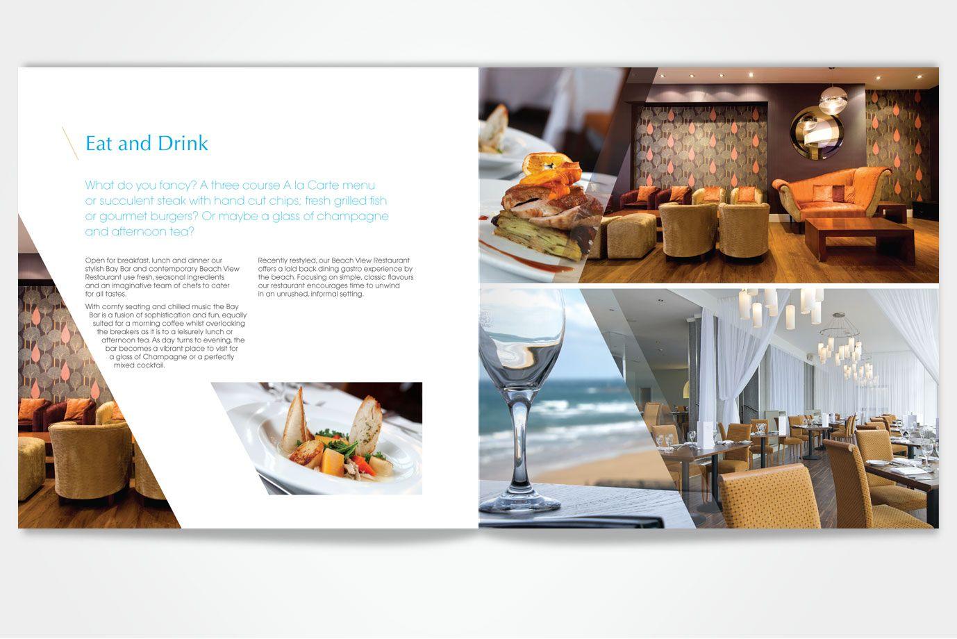 Fistral beach hotel brochure spreads graphic design for Hotel brochure design