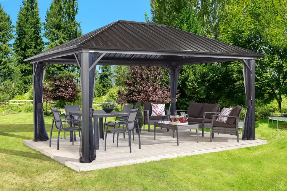 Sojag Genova Gazebo Steel Roof With Mosquito Netting Pergola Patio Gazebo Hardtop Gazebo