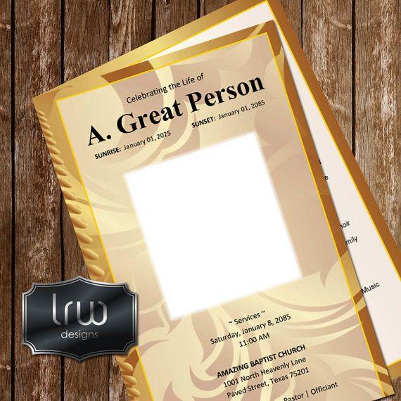 GOLD RUSH printable funeral program template by designsbylrw - funeral program template microsoft
