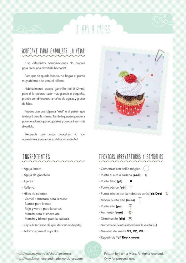 "crochet cupcake pattern by ""I am a Mess"" | Amigurumis | Pinterest ..."