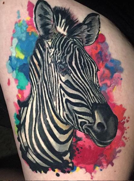 Watercolor Zebra Head Done By Shaun Loyer Of Distinctive Body Art Studio In San Clemente California Zebra Tattoos Body Art Art