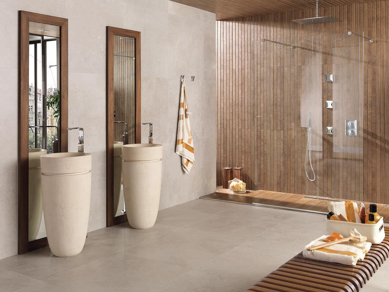 Salle De Bain Avec Rampant ~ carrelage de salle de bain de sol en gr s c rame poli ston ker