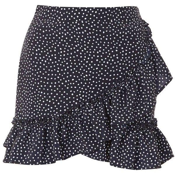 Topshop Polka Dot Frill Mini Skirt (2.140 RUB) ❤ liked on Polyvore  featuring skirts