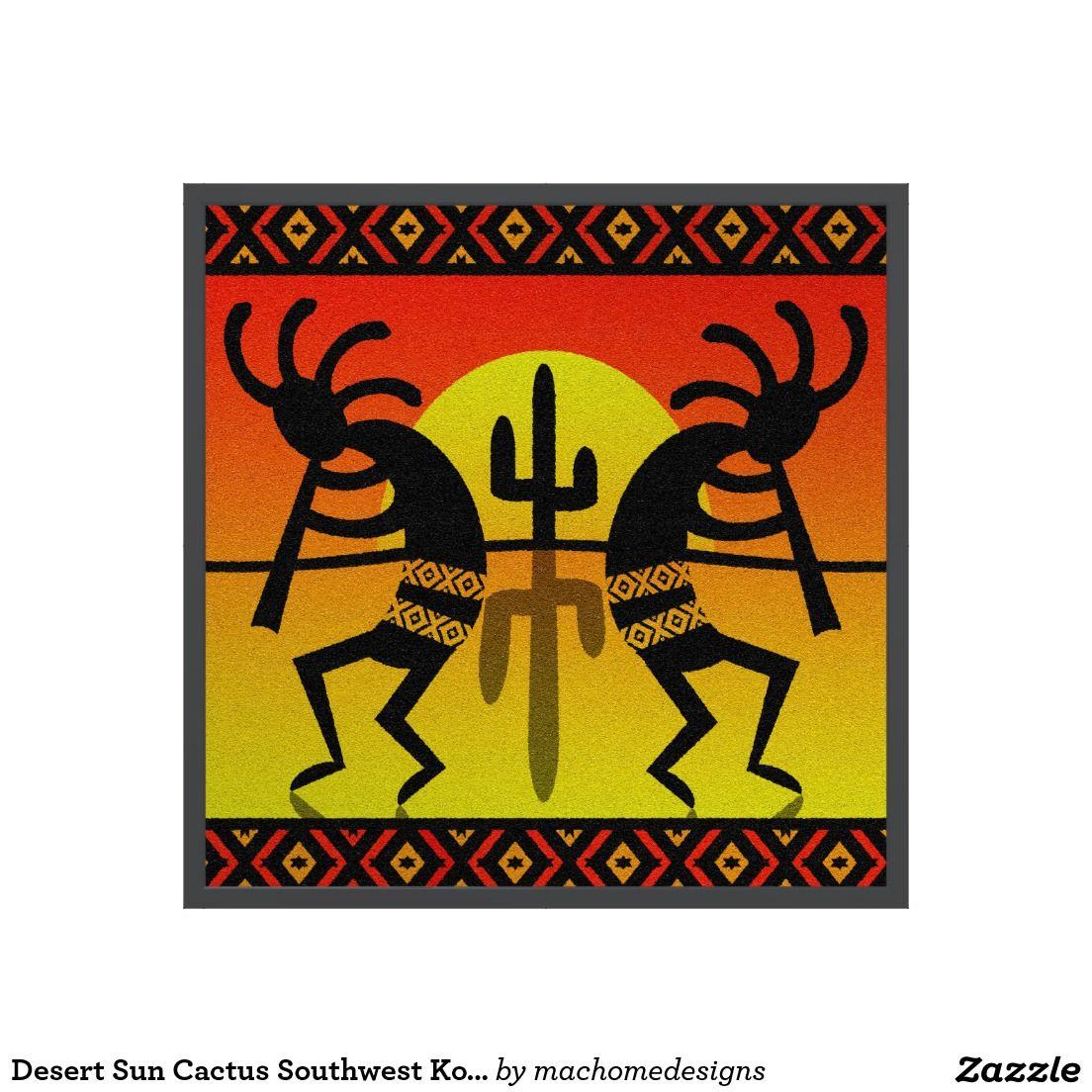 Desert Sun Cactus Southwest Kokopelli Wall Art + Custom Frame ...