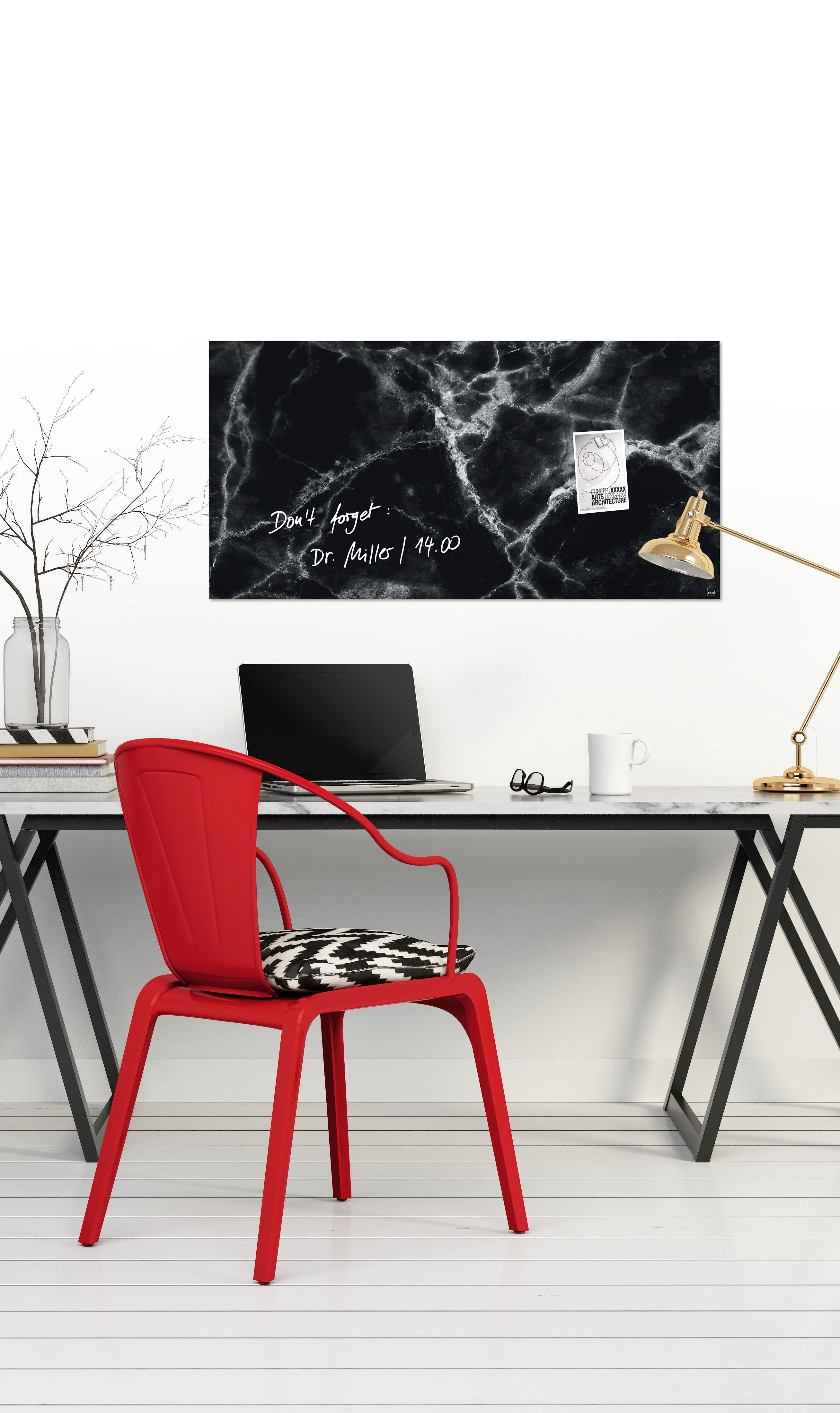 Modern home office desk with red chair. Black and grey
