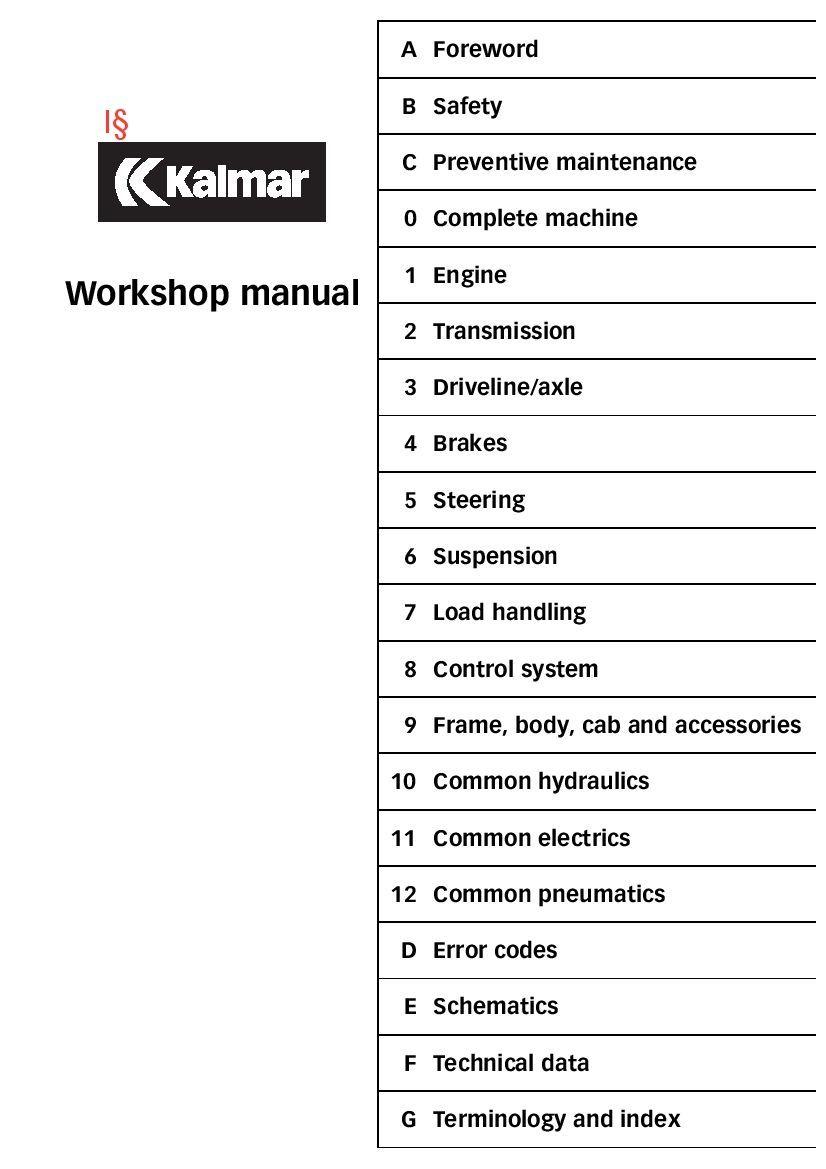 Kalmar Drf450 Workshop Repair Service Manual Pdf Download Servicemanual Operatormanual Partsmanual Preventive Maintenance Repair Manual