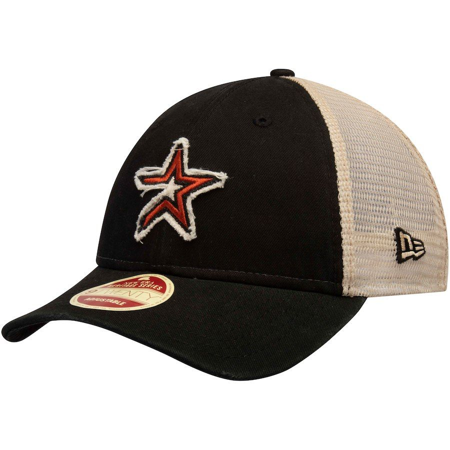 5e764655134ca3 Men's Houston Astros New Era Black Frayed Twill Trucker 9TWENTY Adjustable  Hat, Your Price: $23.99