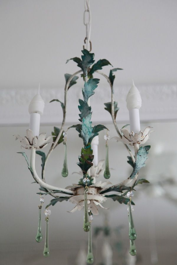 Shabby chic old french tole chandeliereen drops for the shabby chic old french tole chandeliereen drops mozeypictures Image collections