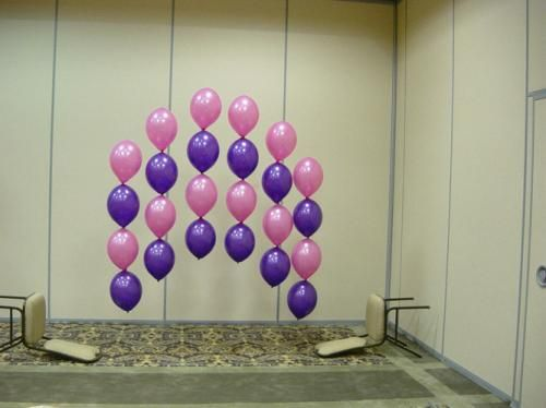 Good background for cake or main table party ideas for Balloon decoration on wall for birthday