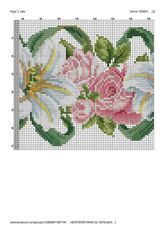 Pin de Maria Teresa en Flores | Pinterest | Punto de cruz, Puntos y ...