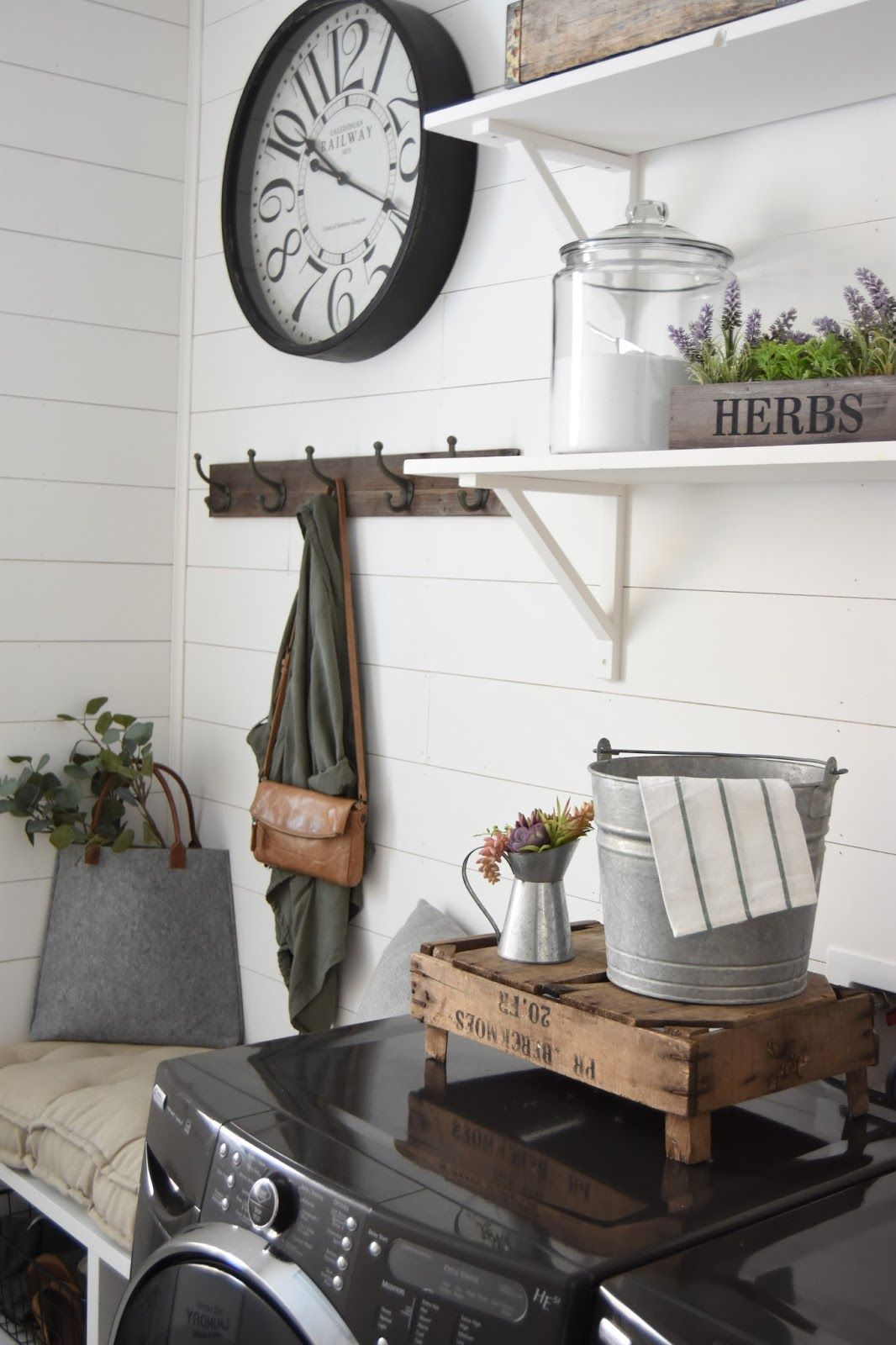 Shiplap Laundry Room  Farmhouse laundry room, Rustic laundry