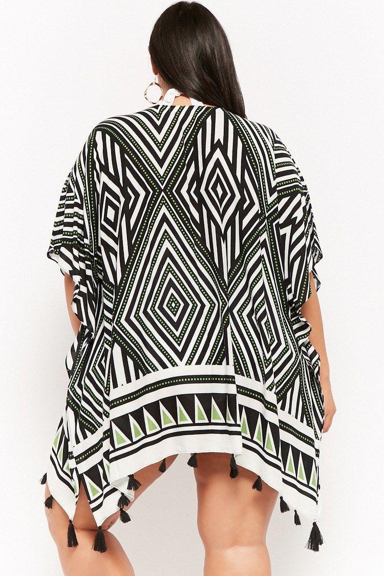 dece9b14929 Plus Size Tribal-Inspired Tasseled Swim Cover-Up Kimono