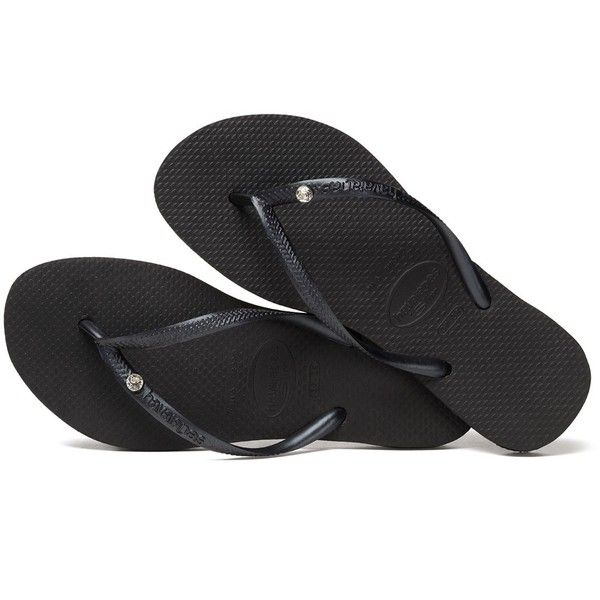 b521eec27 Havaianas Slim Crystal Glamour Flip Flops Black ( 46) ❤ liked on Polyvore  featuring shoes