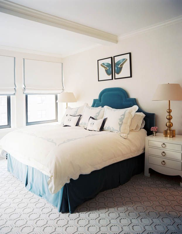 White And Dusty Blue Bedroom With Nightstand