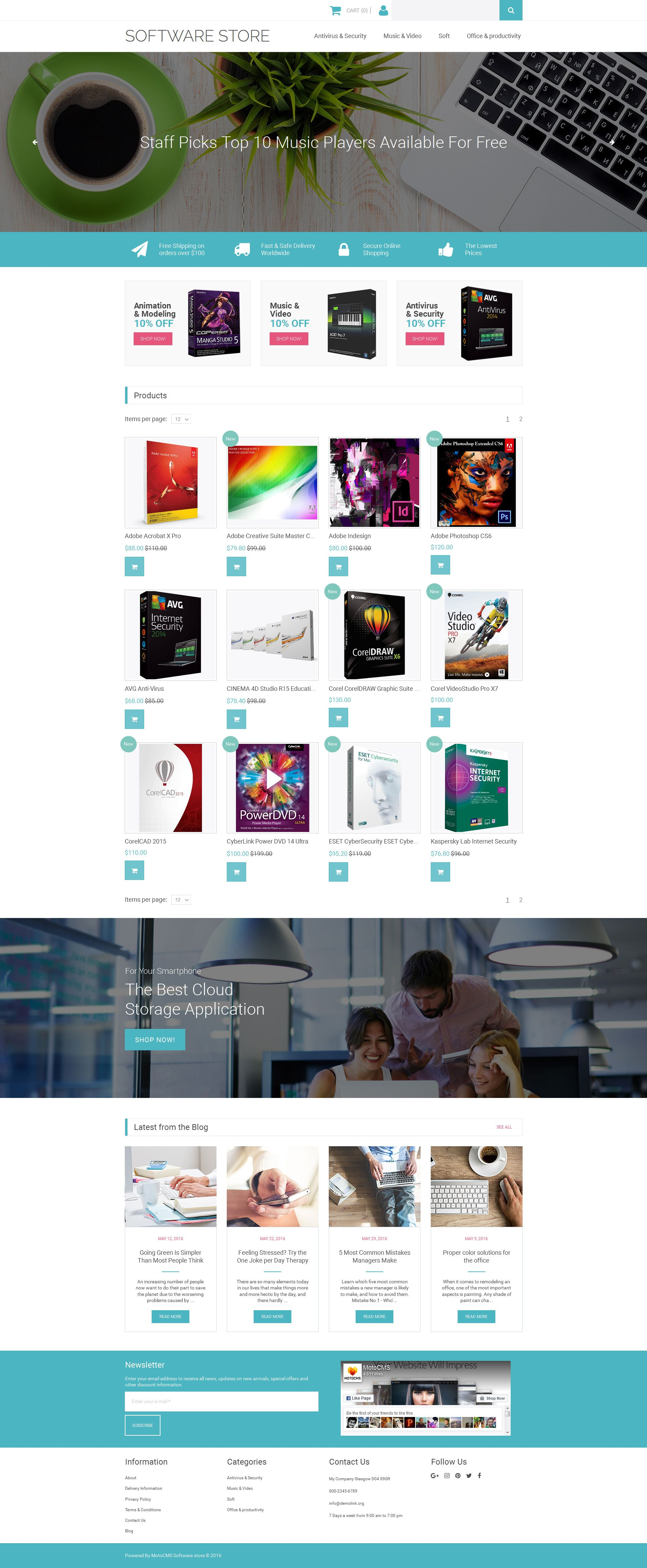 Software Store Responsive MotoCMS Ecommerce Template