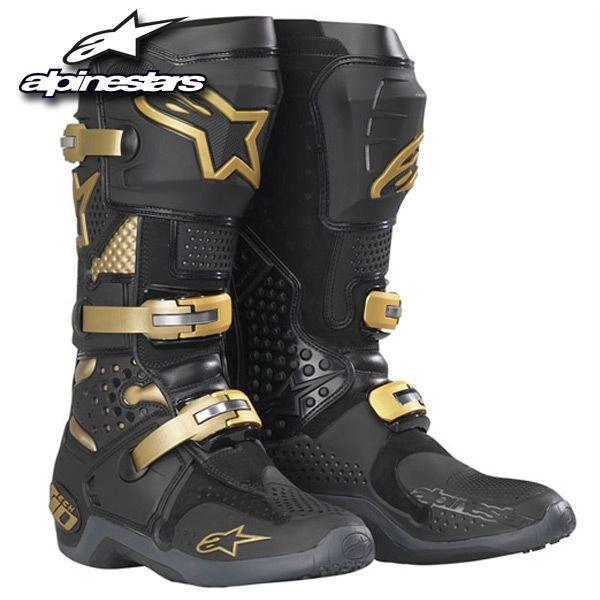 Alpinestars Tech 10 Boots Black Gold Bike Boots Dirt Bike Boots
