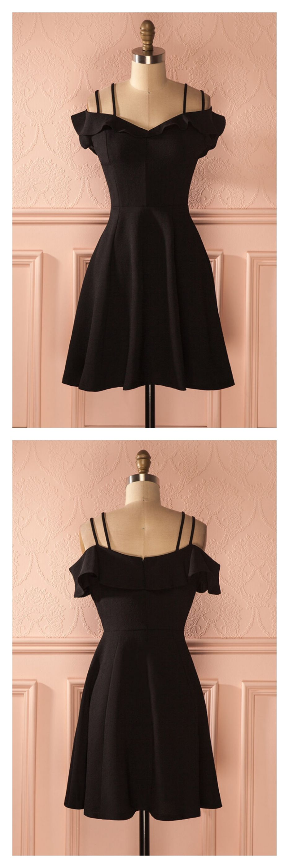 Black straps short satin graduation dressesed in best