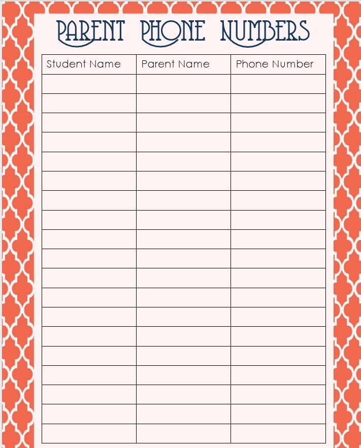 Simply Speech Monday Letu0027s Get Organized! Room Parent - phone number template