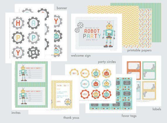 DIY Robot Birthday Party Printable Set by DesignedByMaria on Etsy, $24.00