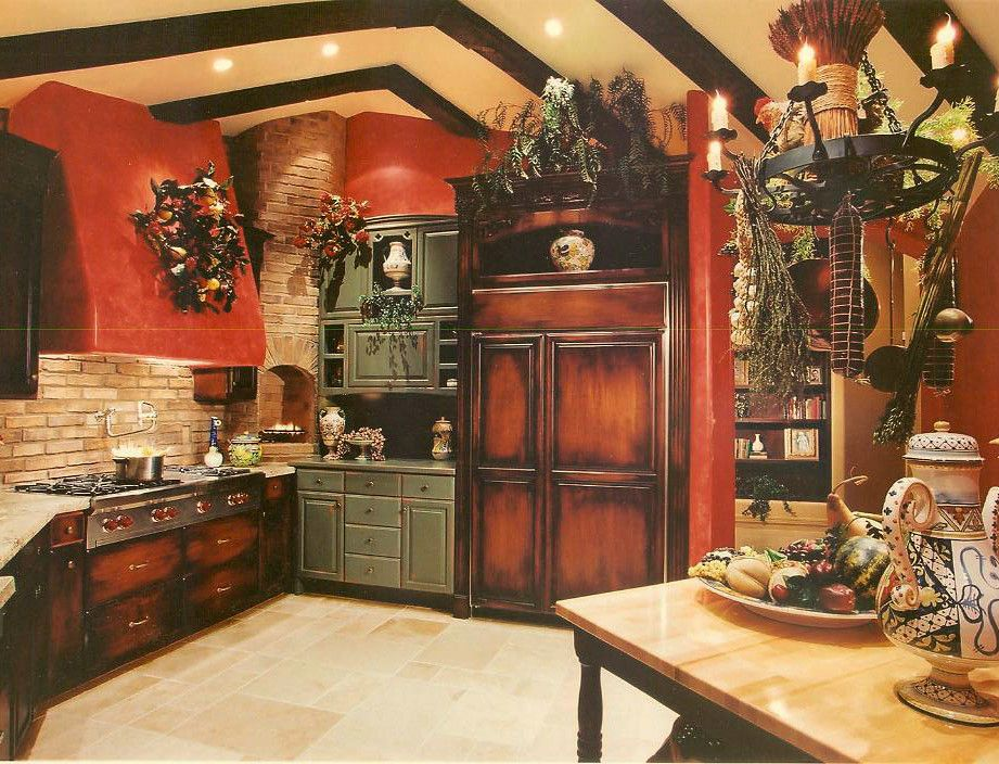 Love, love red kitchens. This is a showhouse kitchen I did and the response was tremendous---especially from the men! Think red, think hungry. Design by Marcia Graber