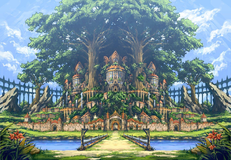 ここに行きたい 大樹の街 Kazuhiのイラスト アニメの風景