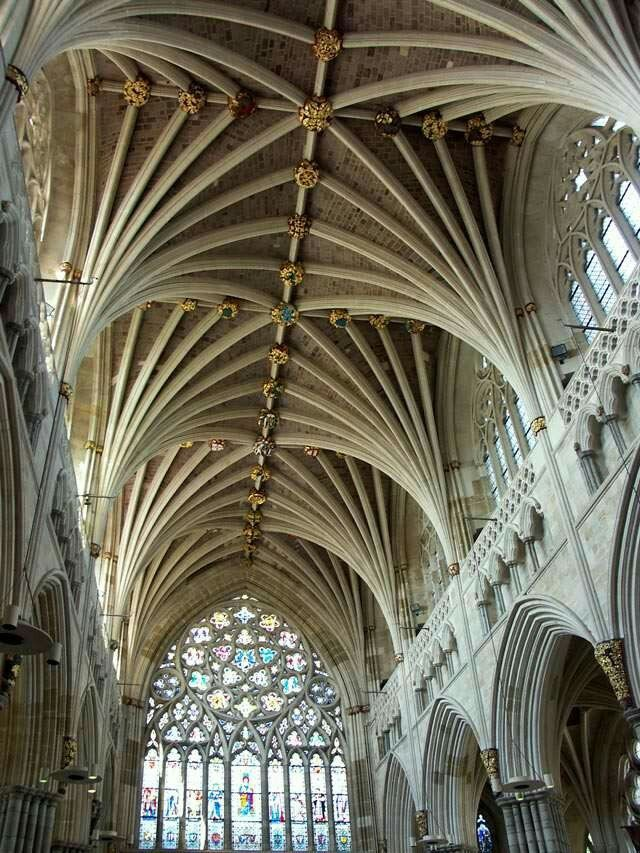 Exeter Cathedral Gothic Architecture Vaulted Ceilings Cathedrals Scenic Design Medieval Buildings Coffered