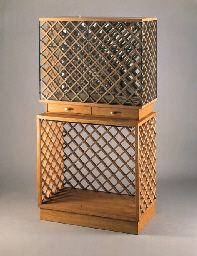 An elm and glass cabinet - Gio Ponti and Pietro Chiesa for Fontana Arte and the VII Triennale, circa 1939