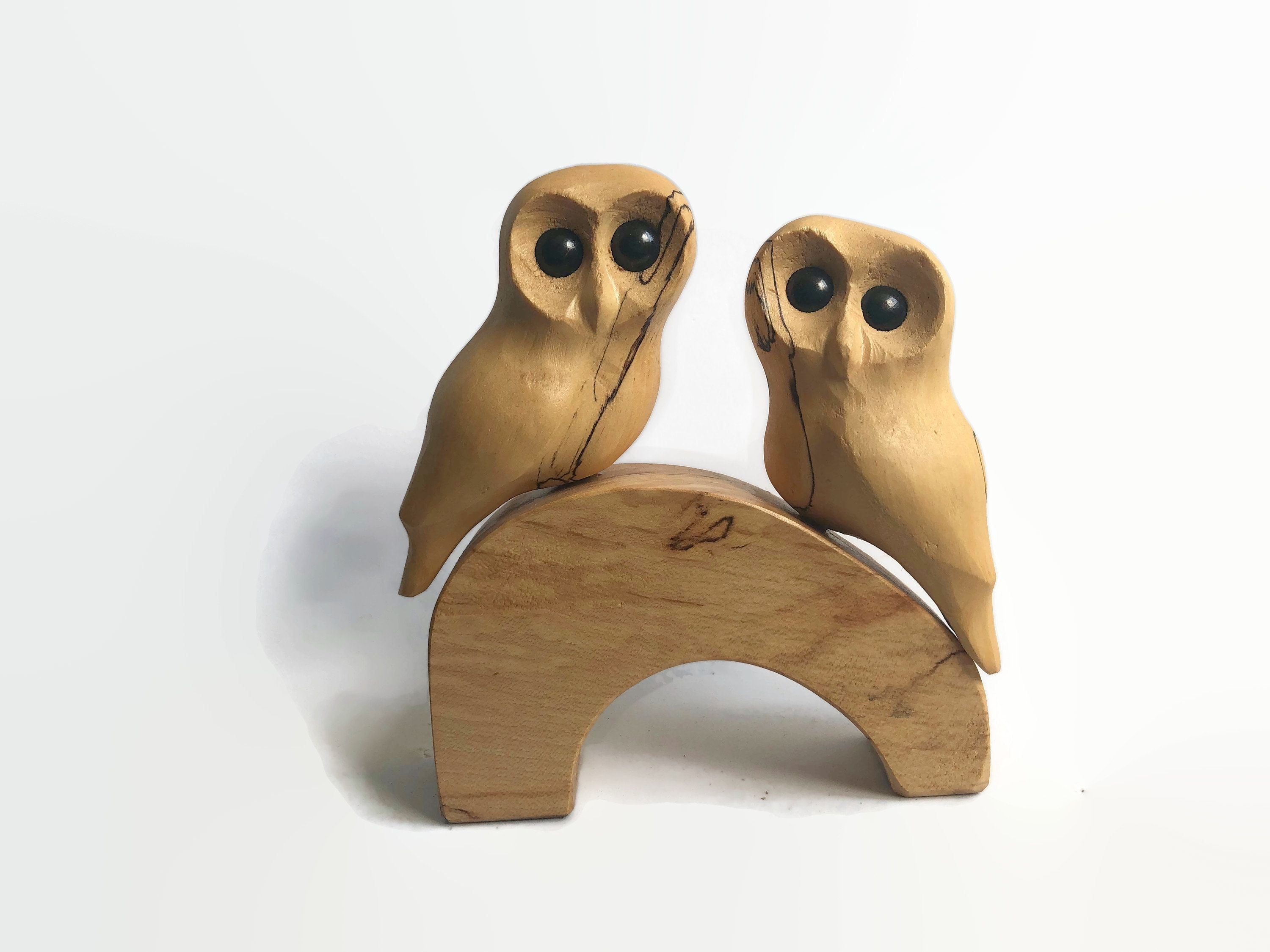 anniversary gifts for him romantic gifts for her Owls wood carving