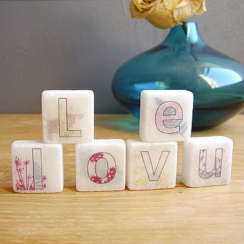 I Love U' Decorative Mini Marble Letter Tiles Marbles Custom Decorative Letter Tiles