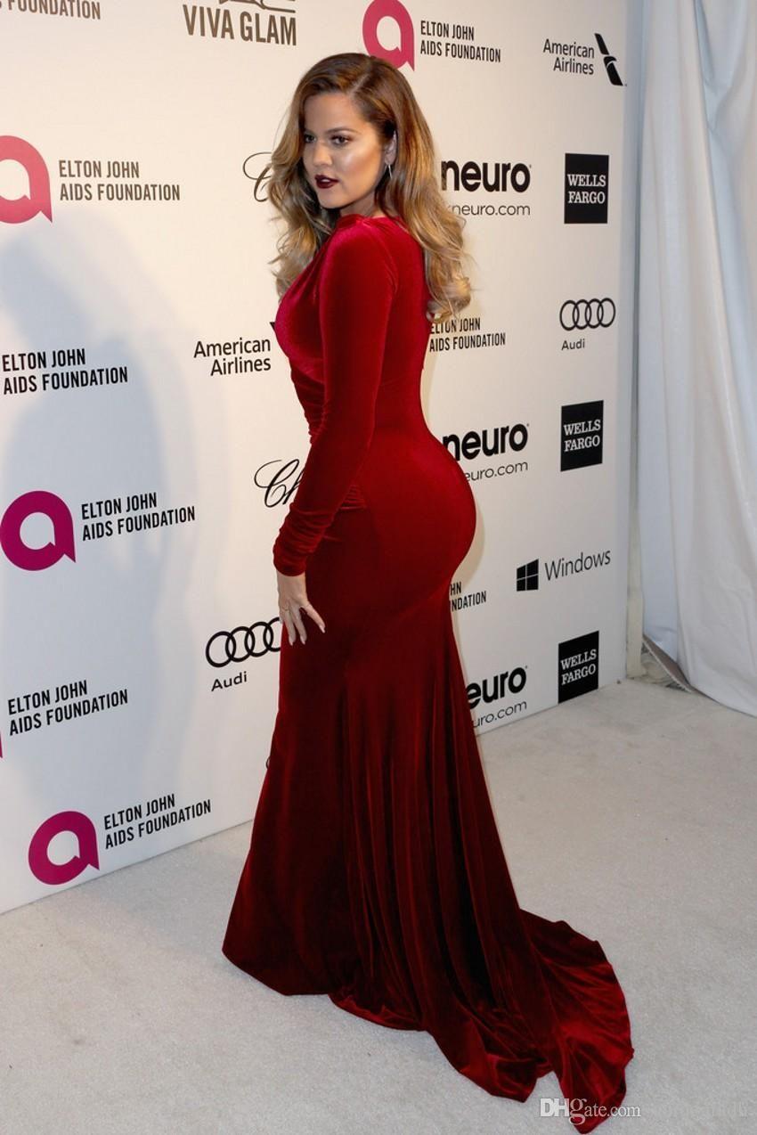 Formal Prom Dress V Neck Ed Dark Red Velvet Carpet With Long Sleeves
