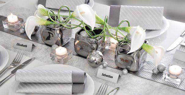 Platin silber tischgestecke tischdekoration for Silberhochzeit deko ideen