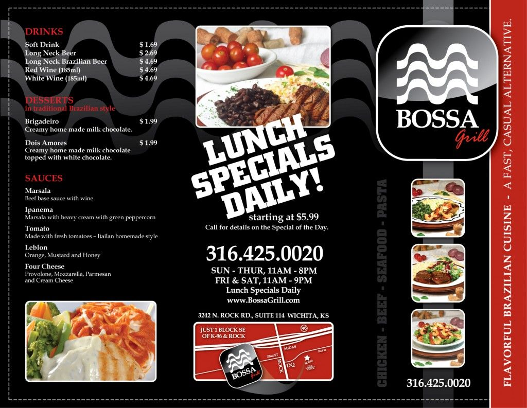 bossa grill to go menu design this is a tri fold brochure standard