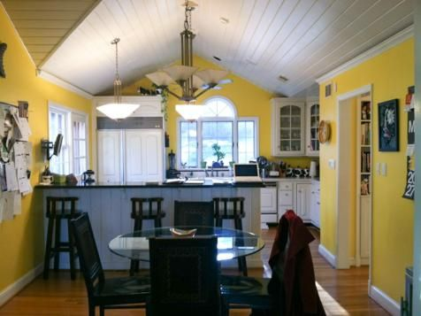 Before The Redesign Too Many Windows And Doors Breaking Up The Space Looked Awkward In The Bright Yellow Kitchen The Off Center Window Ab Country Style Kitchen