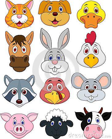 Cute Head Cartoon Farm Animals Pesquisa Google Animal Crafts For Kids Animal Heads Cartoon Animals