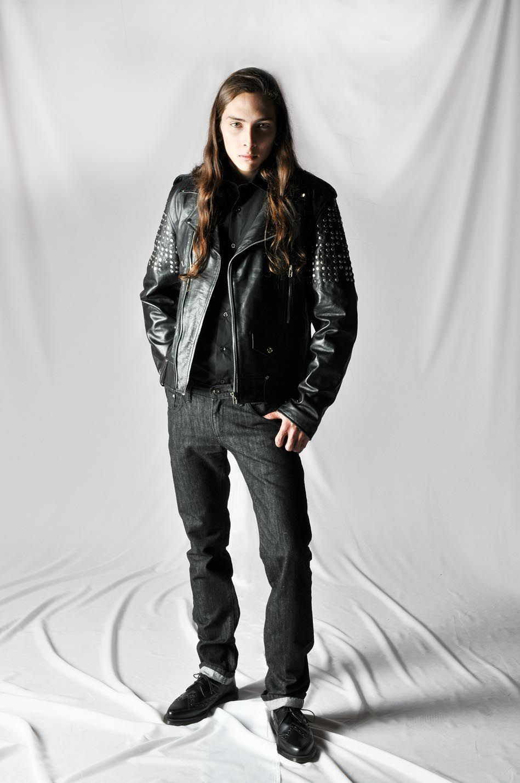 R. Davies S/S15 Biker (leather jacket) Malcolm (shirt in black) Jean (selvedge denim, Indigo) http://www.rdavies-man.com/