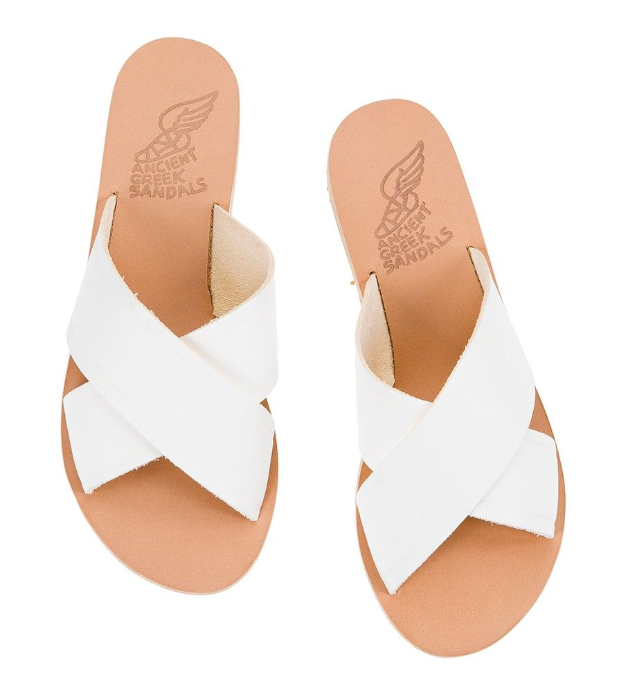 ef5930f1166 Ancient Greek Sandals THAIS White leather criss-cross slides ...