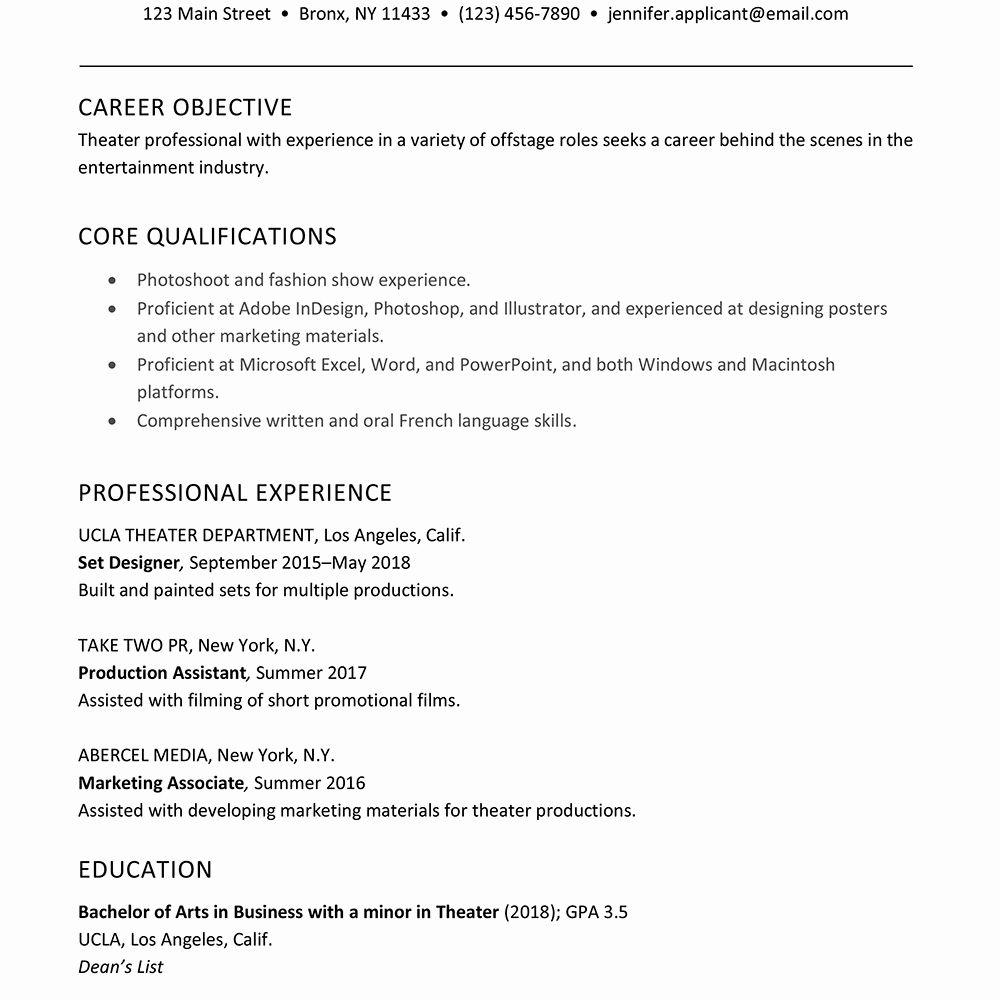 musical theatre resume example