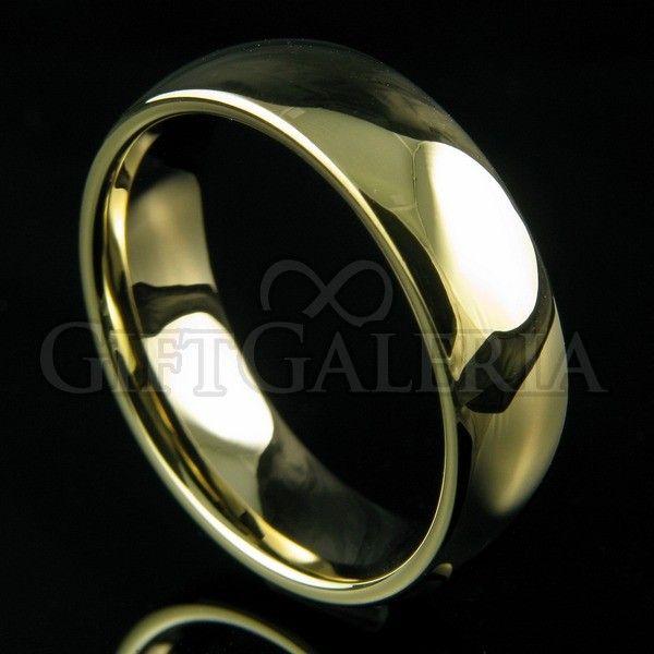 Aliança de casamento em tungstênio ouro Gaya com espessura de 7mm, formato clássico e lindo desenho minimalista. Esta linda aliança possui interior abobadado (anatômico) e brilho até 5 vezes superior ao da jóia comum de ouro 18K.