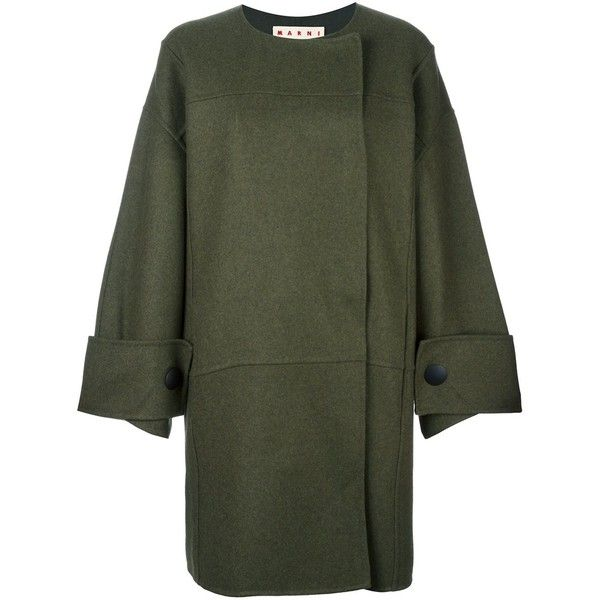 Marni double breasted coat ($2,460) ❤ liked on Polyvore featuring outerwear, coats, green, marni, mid length coat, marni coat, green coat and double breasted coat