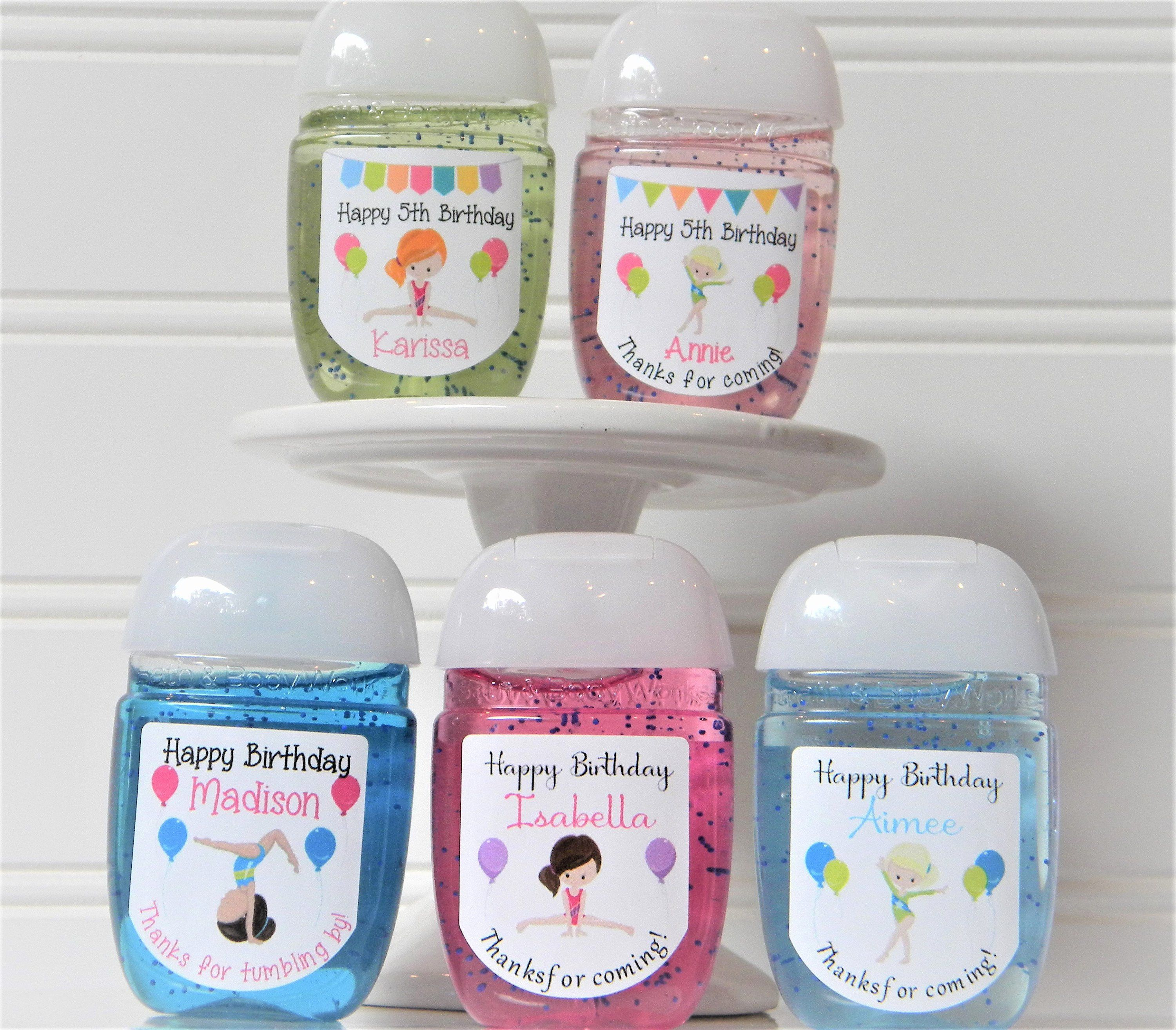 Gymnastics Hand Sanitizer Labels Perfect For Birthday Party Favors