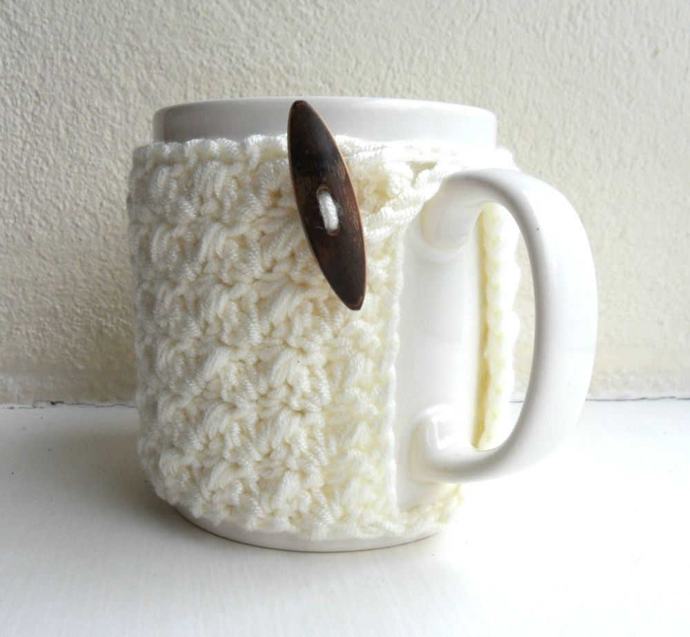 Crochet Mug Cozy Cup Cozy Ivory Cream Yarn Wooden Toggle on Luulla ...