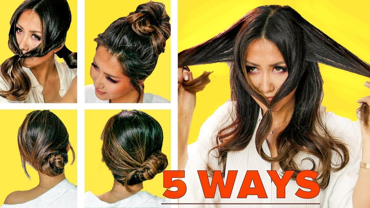 lazy bun hack methods for dark hair easy updo hairstyles