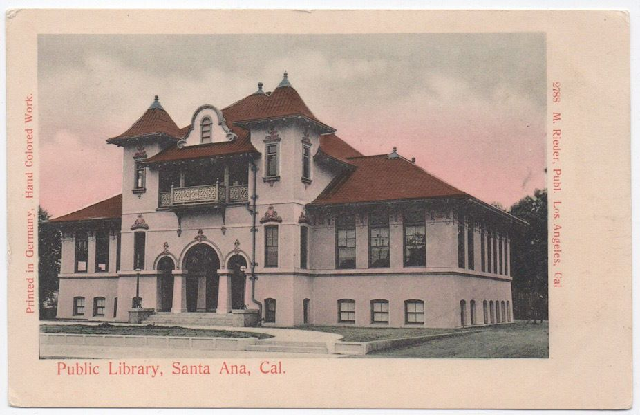 Tinted Postcard Public Library In Santa Ana California 106587
