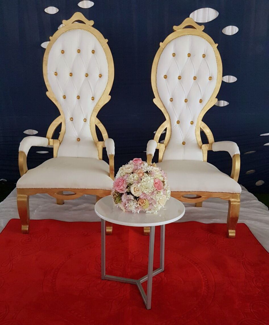 African traditional wedding decor  African Traditional Royal throne chairs  blue cream u gold wedding