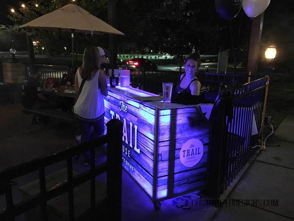 LED Lighted Portable Bar on Wheels for Events & Mobile Bartending – 5