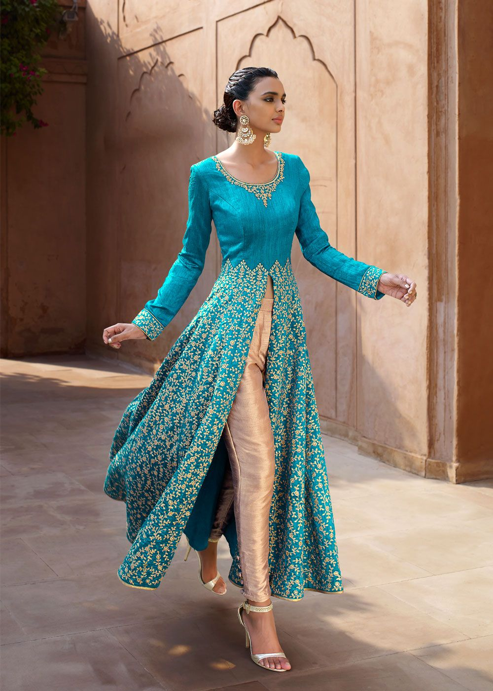 Turquoise Bhagalpur Silk Anarkali Kameez With Straight Pant Online ...