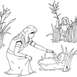 Baby Moses Was Safe In His Basket Boat Coloring Page Color Luna Coloring Pages Sunday School Coloring Pages Bible Verse Coloring Page